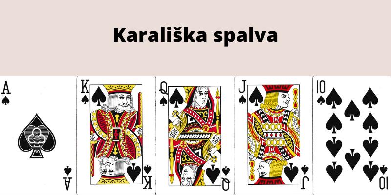 Pokerio kombinacijos pagal stiprumą - karališka spalva